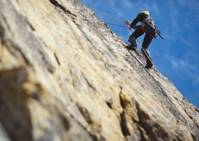 Klettern am Felsen